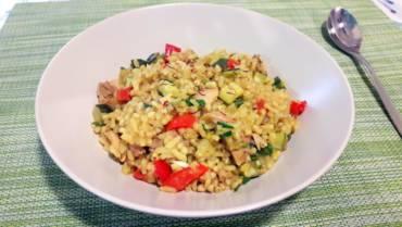 Buckwheat, zucchini and capsicum risotto